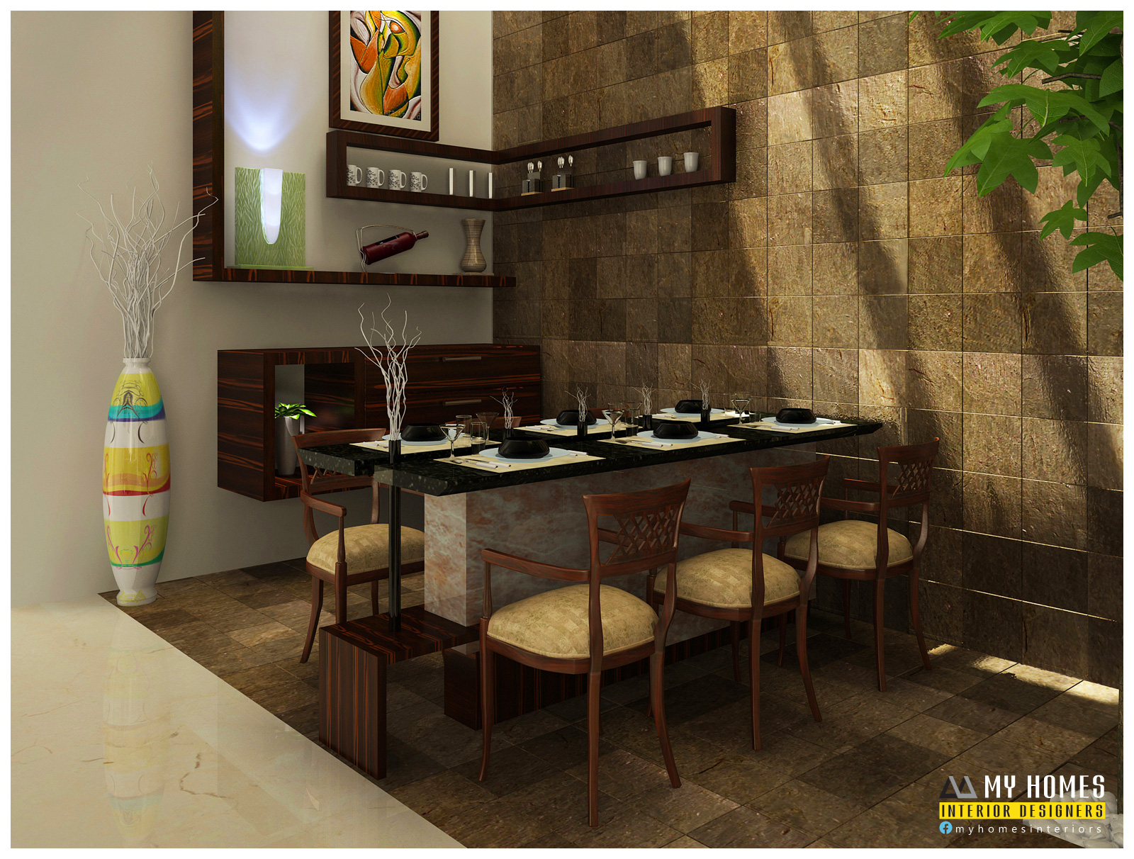 Inspirational dining room design kerala light of dining room for Dining room designs kerala