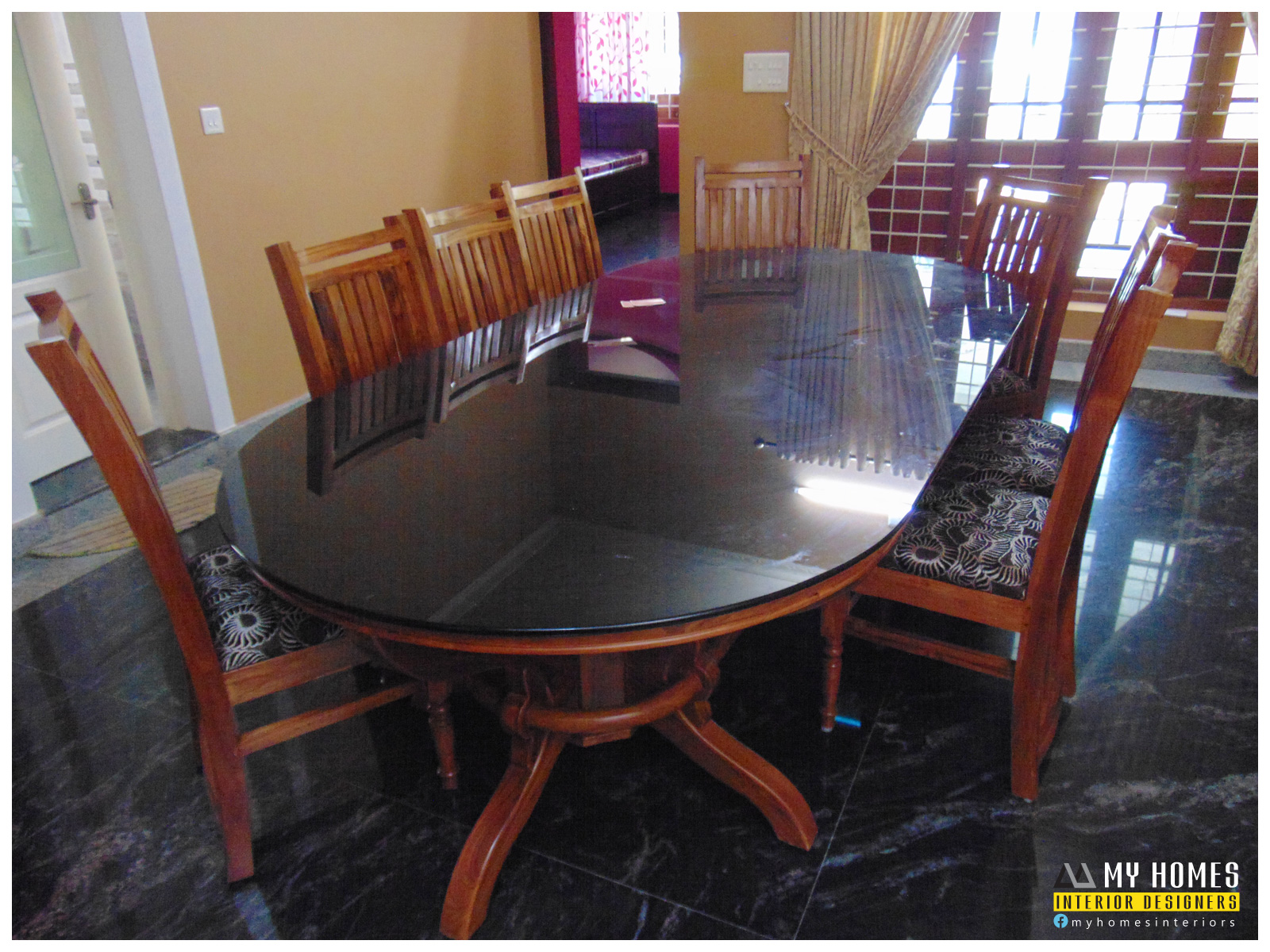 Elegant dining table design kerala light of dining room for Dining table design