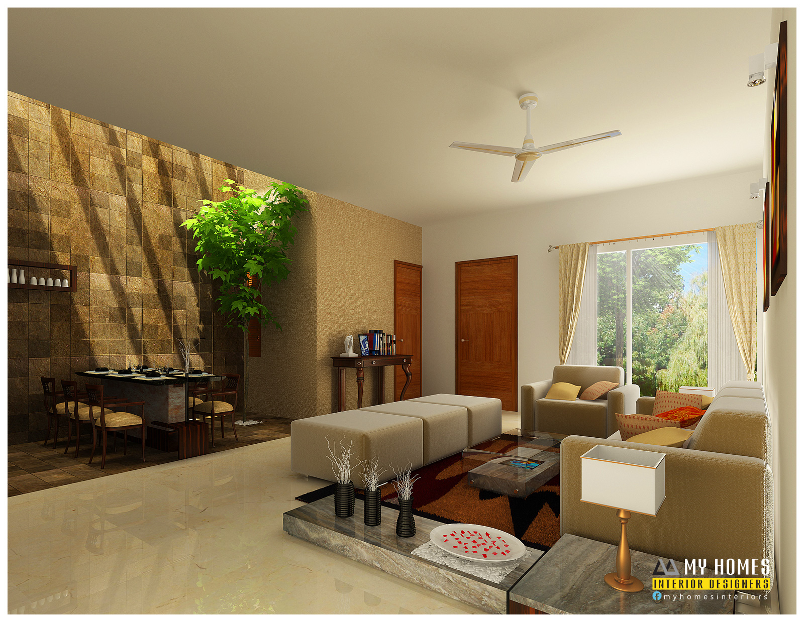 Kerala interior design ideas from designing company thrissur for Kerala home living room designs