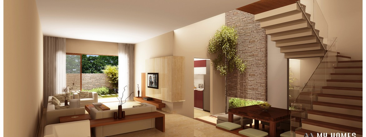Kerala interior designs fit out construction company in for Interior decoration living room roof