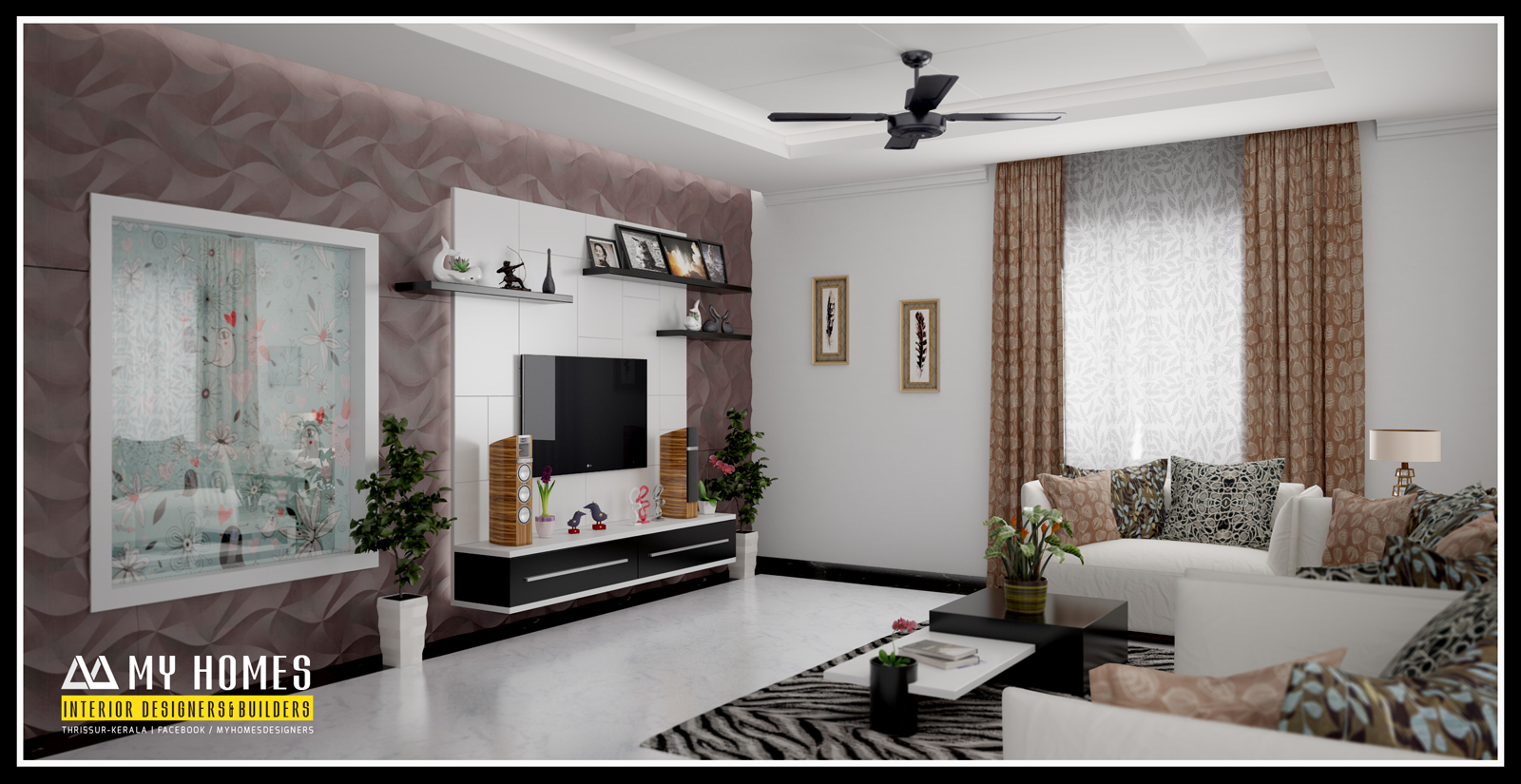 Living area home interiors in kerala india in modern style trend