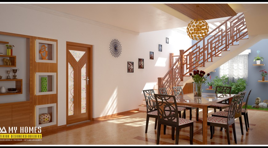 Dining room design archives kerala interior designers for Interior design for hall and dining room