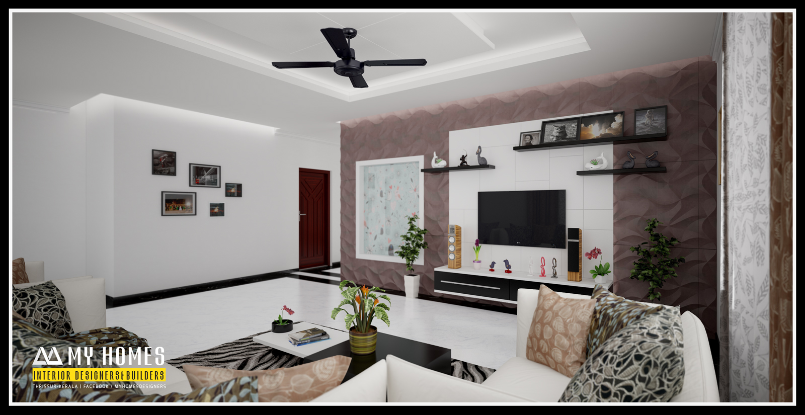 Kerala interior design ideas from designing company thrissur for Kerala house living room interior design