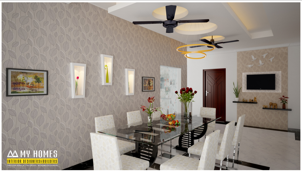 Kerala style dining room designs for homes house interior for Kitchen dining hall design