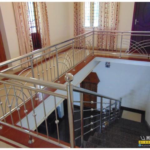 modern home, house staircase designs kerala