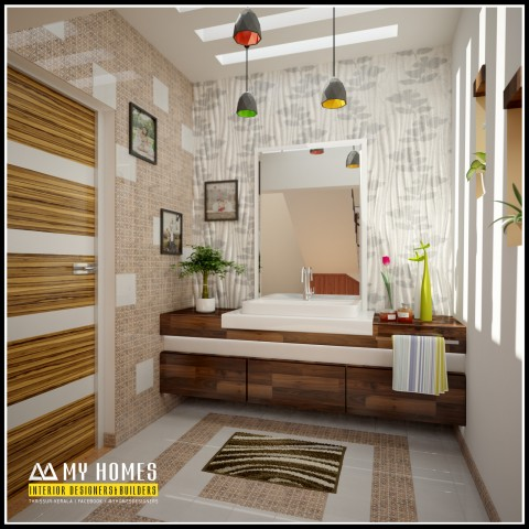 New and stylish wash area home interiors kerala